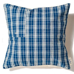 Grandad Check Cushion Cover / Indigo Check (B)
